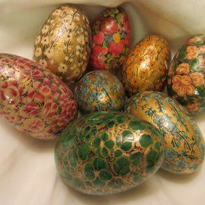 Hand Crafted Wooden Floral Eggs Gilt Decorated